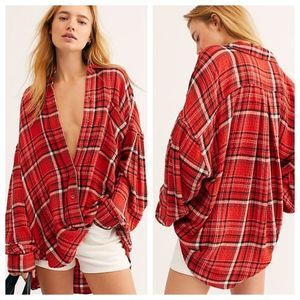 We The Free Red Plaid Button Down Oversized Shirt